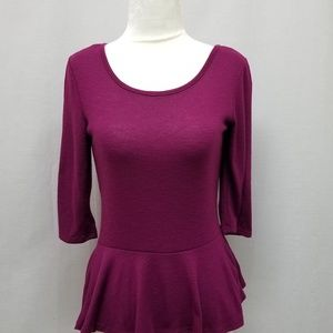 IZ Byer purple peplum top with lace bow back